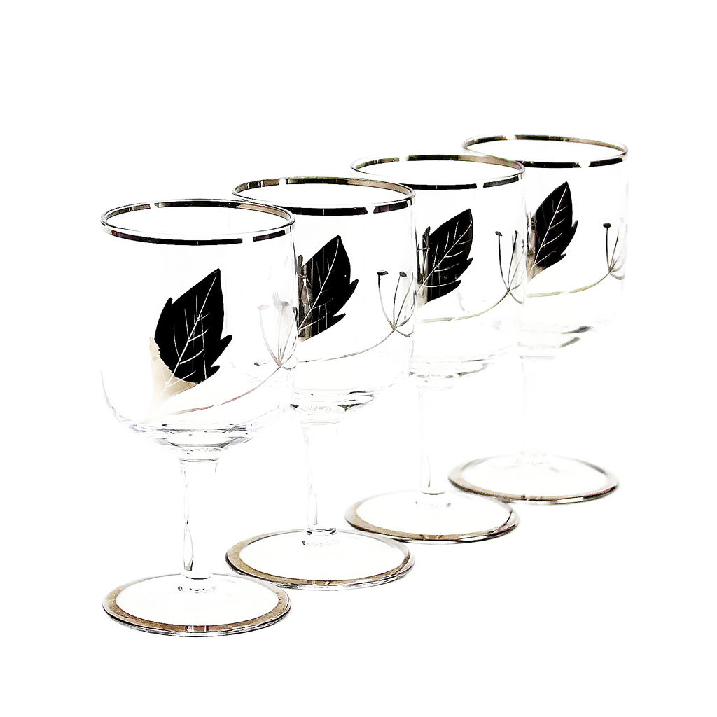 Art Deco Sherry Glasses. Hand Painted Silver Leaf Pattern. Etched Dandelion Design.