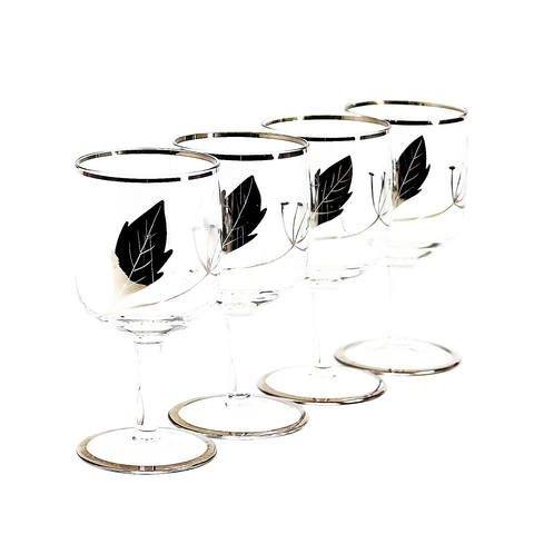 Art Deco Sherry Liqueur Glasses, Hand Painted Silver Leaf Design