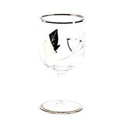 Art Deco Sherry Glass. Hand Painted Silver Leaf Pattern. Etched Dandelion Design.