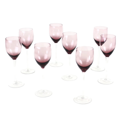 Set of 8 Vintage Wine Glasses in Sheer Purple with Clear Stems.