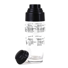 Cobbler Cocktail Shaker, Glass with Classic Cocktail Recipes in Black Overlay