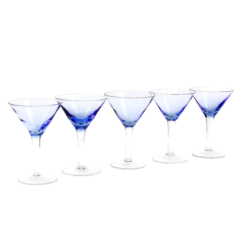 Martini Cocktail Glasses, Periwinkle Blue, Hand Blown Glass