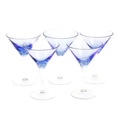 Set of 5 Martini Glasses with a Purple Blue Hue.