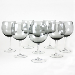 Wine Glasses, Smokey 12-Panel Optic Bowl, Hand-Blown