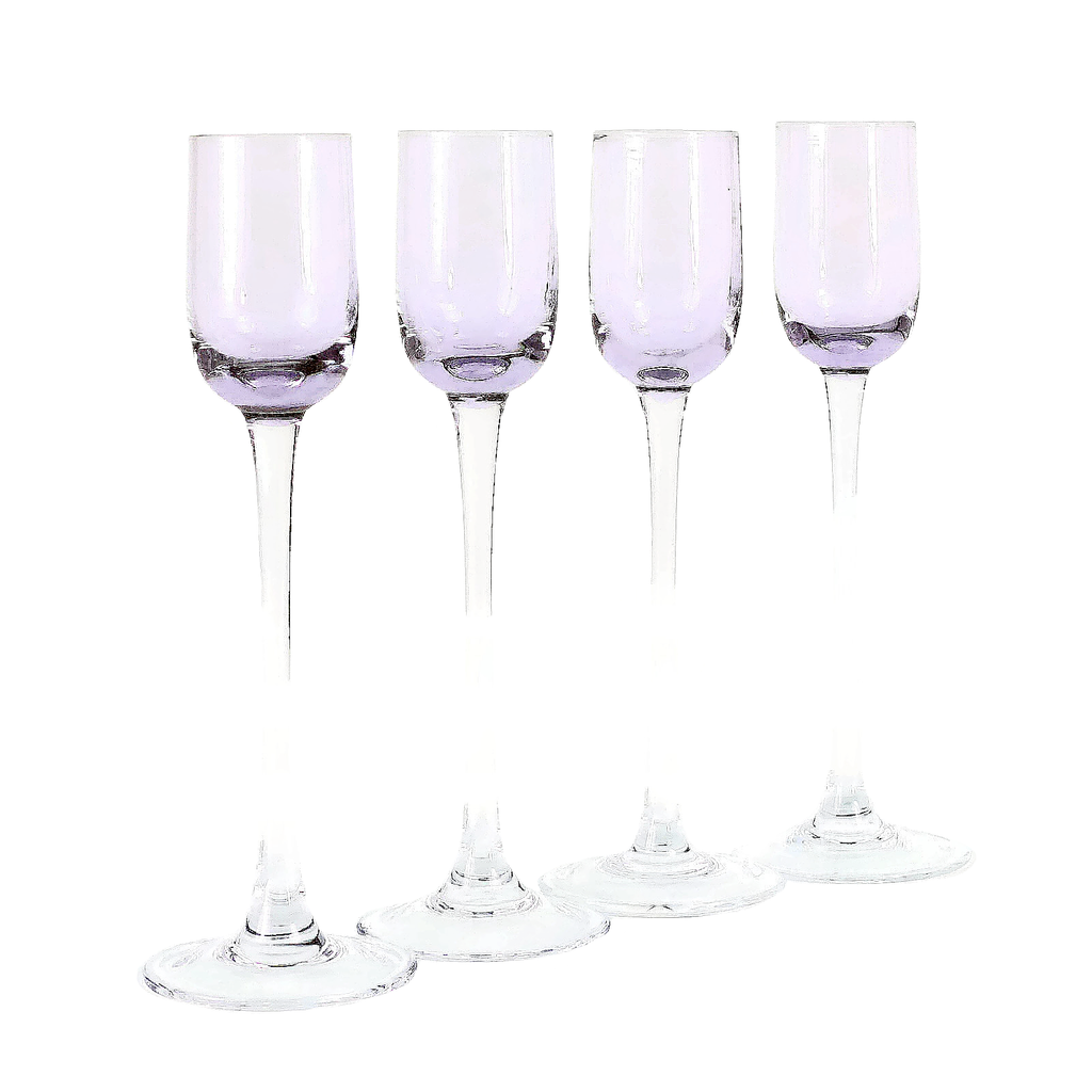 Liqueur Glasses, Long Stemmed Light Purple