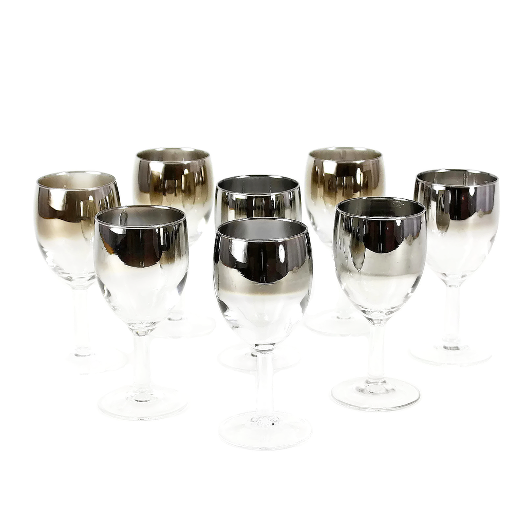Set/8 Wine Glasses, Silver Ombre Stemware, Mid Mod Entertaining