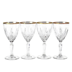 Vintage Set of 4 Cut Crystal Wine Glasses with Gold Rims.