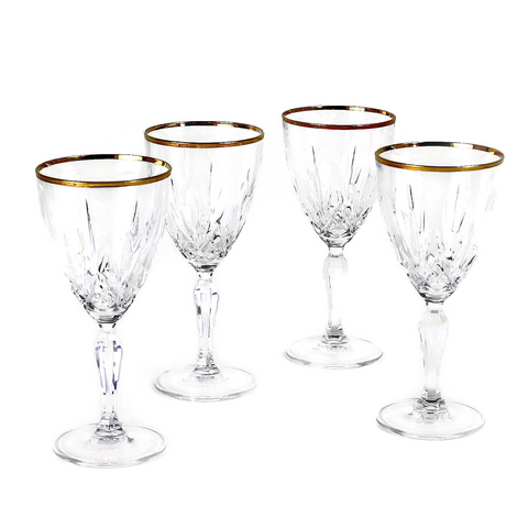Vintage Wine Glasses, Hand Cut Crystal, Gold Rims
