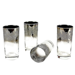 Highball Bar Glasses, Rose Embossed Silver Ombre
