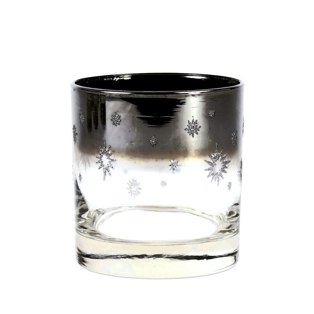 Silver Ombre Whiskey Glass, Embossed Atomic Star, Set of 7