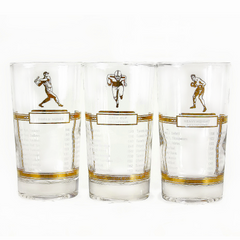 Vintage Collectible 'Sports Champions' Highball Glasses, Gold Luster