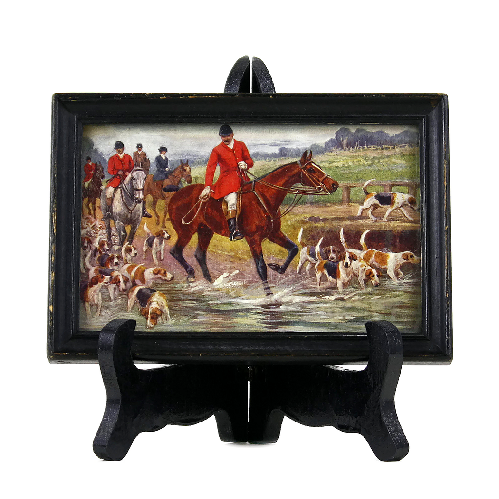 Framed Fox Hunting Giclee, Vintage