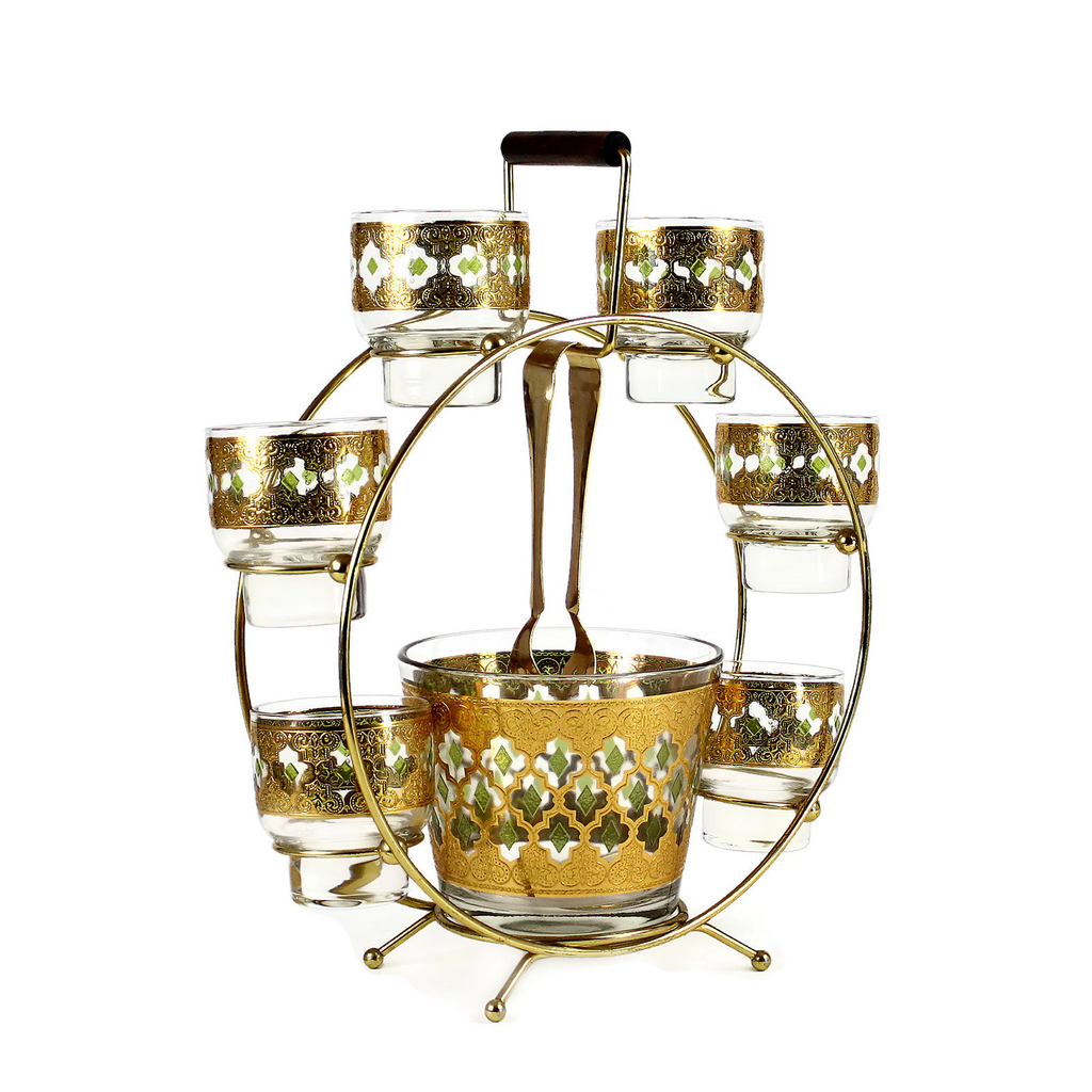 22K Gold Culver 'Valencia' Cocktail Set in Ferris Wheel Caddy, Mid-Century