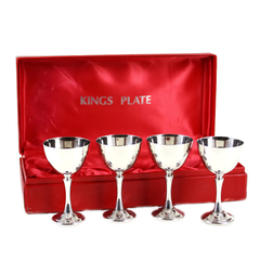 Vintage Kings Plate Sherry Set in Red Satin Lined Gift Box.