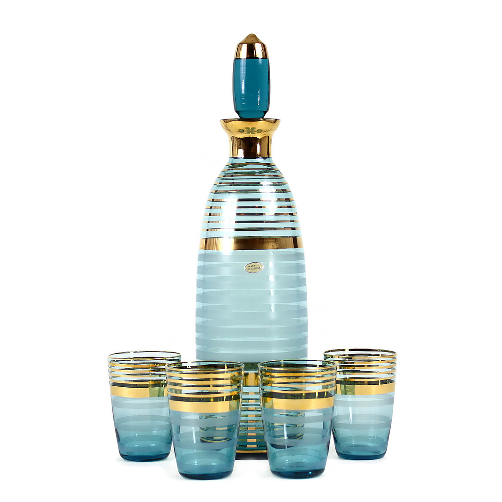 Mid Century Decanter Set, Czechoslovakian Crystal, Turquoise & Gold