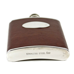 Leather Clad Stainless Flask, Wiser's Plaque