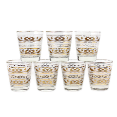 Mid Century Whiskey Glasses, Set of 7. Frosted with Gold Lotus Pattern Bands.