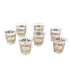 Vintage Old Fashioned Glasses. Frosted with Gold Lotus Pattern. Dominion Glass Barware.