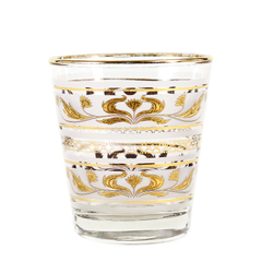Mid Century Whiskey Glass. Frosted with Gold Lotus Pattern. Dominion Glass Barware.