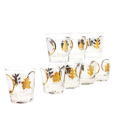 Mid-Century Whiskey Glasses, Gold, Frosted Leaf & Circle Design, Federal Glass, Set of 8