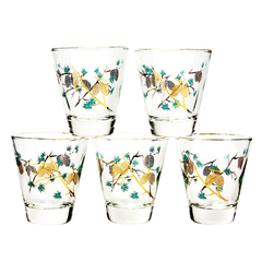 Set of 5 Mid Century Old Fashioned Glasses by David Douglas. Pinecone Pattern and 22k Gold Rims.