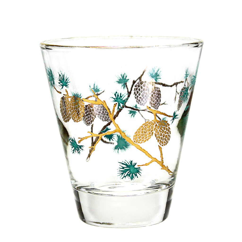 Mid Century Whiskey Glass with Pinecone Pattern. By David Douglas for Dominion Glass Company.