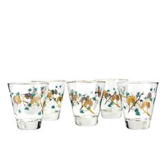 Vintage Whiskey Glasses in a Set of 5. Gold Pinecones by David Douglas.