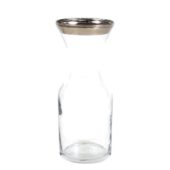 Mid Century Wine Carafe with Silver Rim by Dominion Glass.