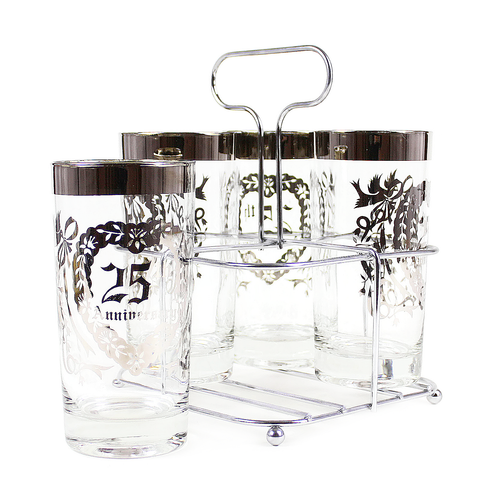 Mid Century Queens Lusterware '25th Anniversary' Bar Glass Caddy Set