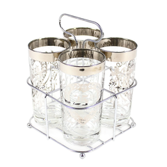 Vintage 25th Anniversary Bar Glass and Caddy Gift Set