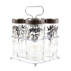 Mid Century 25th Wedding Anniversary Silver Bar Glass Gift Set with Chrome Caddy