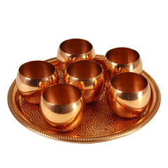 Coppercraft Guild Roly Poly Cups & Serving Tray Bar Set