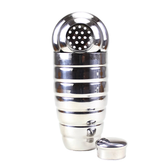 3 Piece Chrome Cobbler Style Cocktail Shaker.