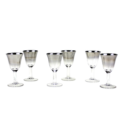 Vintage Silver Ombre Liqueur Glasses, Set of 6.