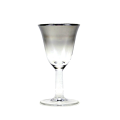 Mid Century Silver Fade Crystal Liqueur Glass. Made by Arcoroc, France.