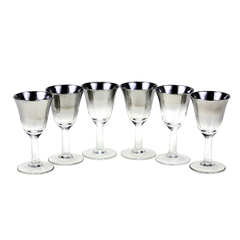 Mid Century Arcoroc France Crystal Liqueur Glasses. Set of 6 Silver Ombre Glaze Finish.