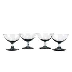 Vintage Short Stemmed Cocktail Coupes. Smokey Black Hand Blown Glass.