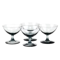 Vintage Cocktail Coupes in Smokey Black Hand Blown Glass. Set of 4.