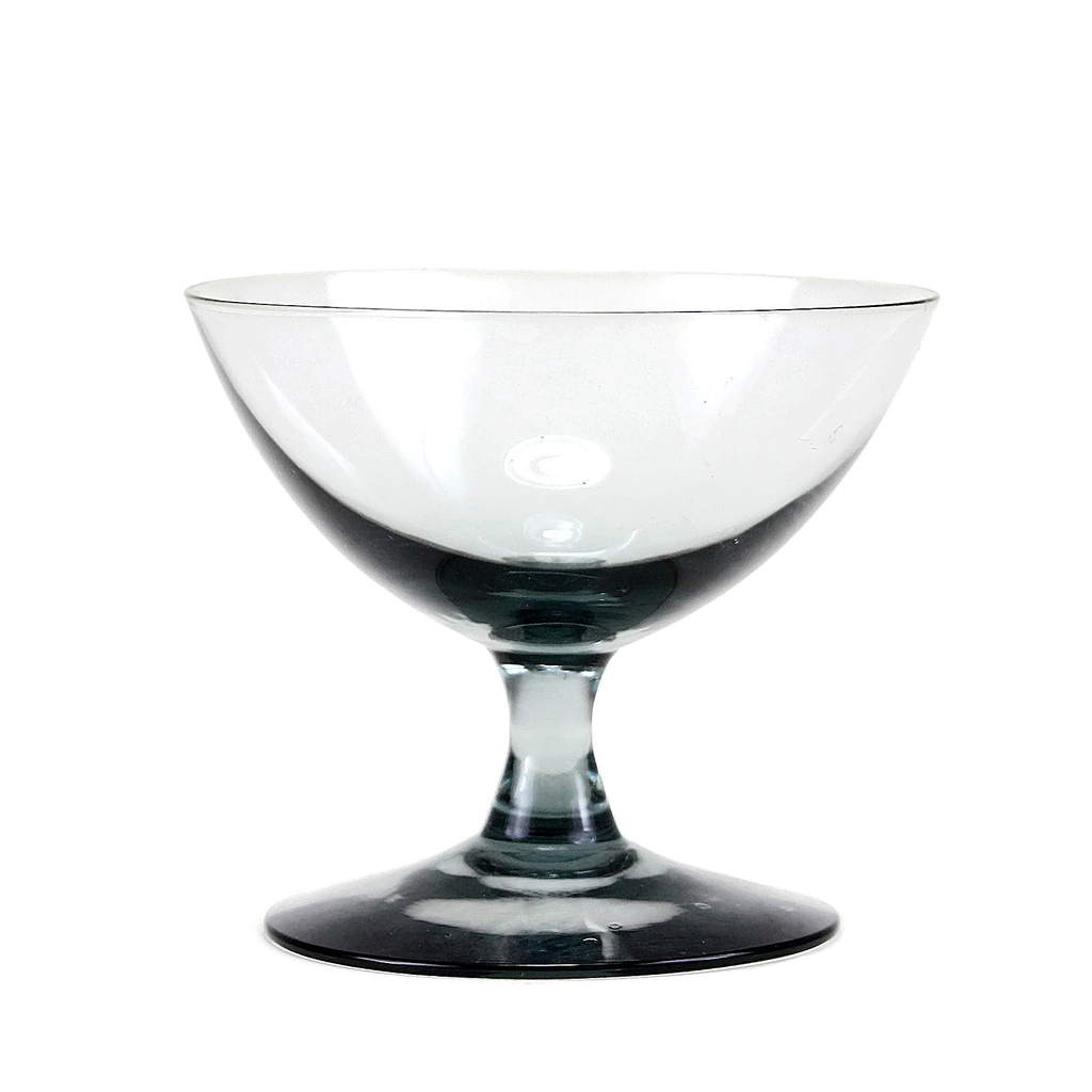 Vintage Blown Glass Cocktail Coupe in Smokey Black.