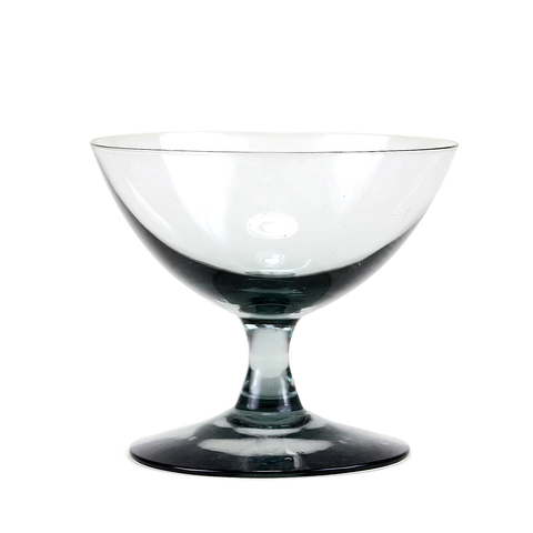 Vintage Saucer Coupes, Smokey Black Crystal, Mid Century Cocktail Glasses