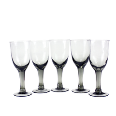 Vintage Goblets in a Set of 5 Smokey Black Hand Blown Glass.