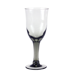 Vintage Hand Blown Smokey Black Goblet.