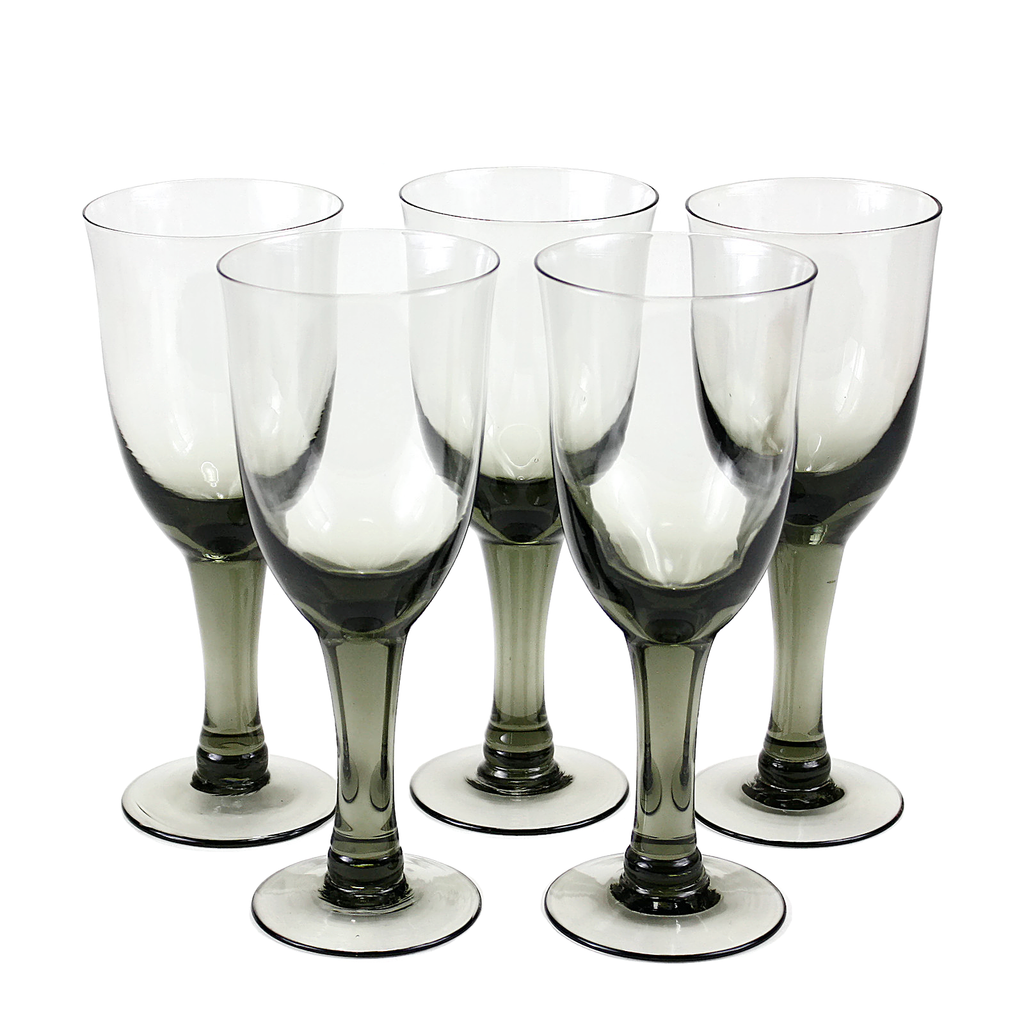 Mid Century Smokey Black Goblets, Set of 5.