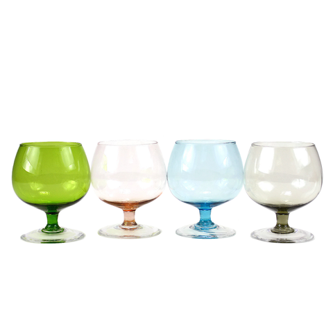 Small Vintage Brandy Snifters, Multi Colour, Set of 4
