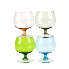 Small Vintage Brandy Snifters, Multi-coloured Set includes Green, Pink, Blue and Smokey Brown.