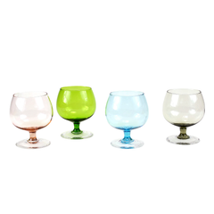 Brandy Liqueur Glasses. Set of 4 includes a pink, green, blue and smokey brown snifter glass.