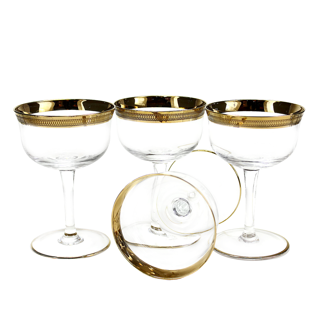 Etched Gold Rimmed Crystal Coupes, Vintage
