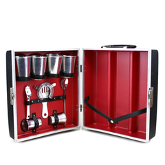 Vintage Travel Bar, 3-Bottle Portable Cocktail Case and Accessories