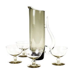 Cocktail Pitcher Set, Smokey Brown Coupes, Mid Century Modern Barware