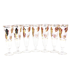 Pilsner Beer Glasses, 'Starlyte', Libbey, Set of 7